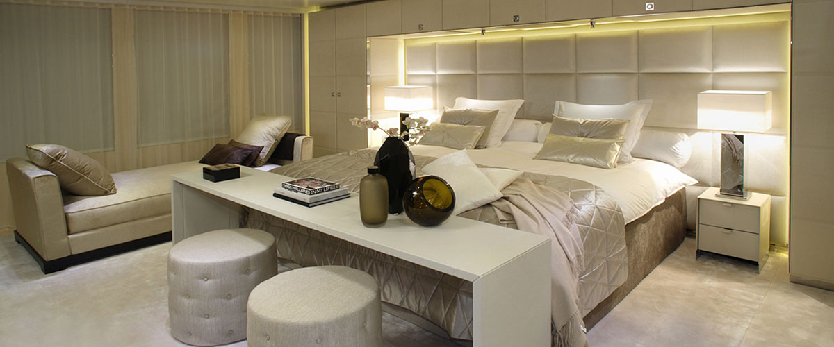 Icon Yacht bed linen owners suite by Mrs.Me